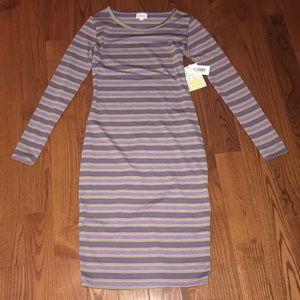 LuLaRoe Purple and Green Stripped Dress